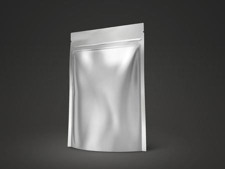 Blank doy pack mockup, silver package for design uses in 3d illustration