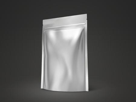Blank doy pack mockup, silver package for design uses in 3d illustration