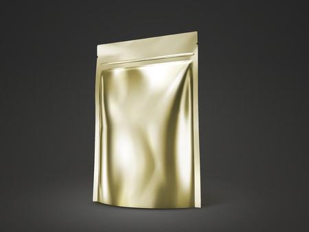 Blank doy pack mockup, golden color package for design uses in 3d illustration