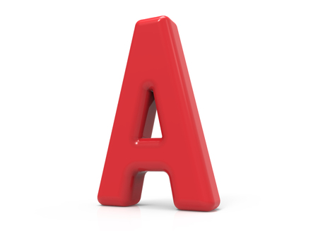 red letter A, 3D rendering red plastic texture alphabet isolated on white background Reklamní fotografie