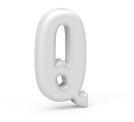 pearl white letter Q, 3D rendering inflated alphabet isolated on white background