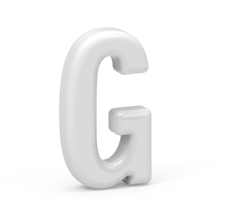 pearl white letter G, 3D rendering inflated alphabet isolated on white background