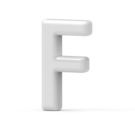 pearl white letter F, 3D rendering inflated alphabet isolated on white background