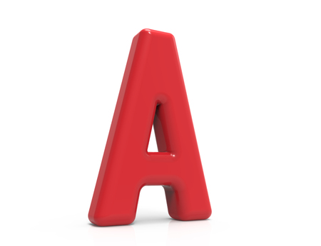 red letter A, 3D rendering red plastic texture alphabet isolated on white background Banco de Imagens