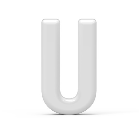 pearl white letter U, 3D rendering inflated alphabet isolated on white background
