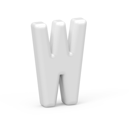 pearl white letter W, 3D rendering inflated alphabet isolated on white background