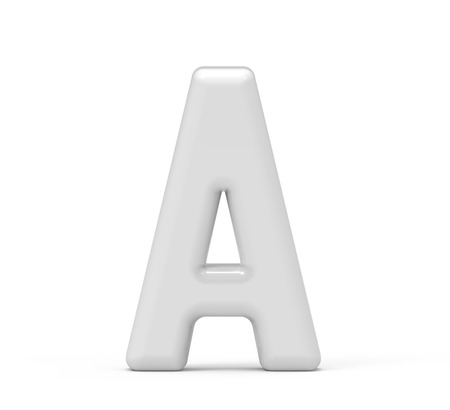 pearl white letter A, 3D rendering inflated alphabet isolated on white background 版權商用圖片