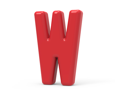 red letter W, 3D rendering red plastic texture alphabet isolated on white background