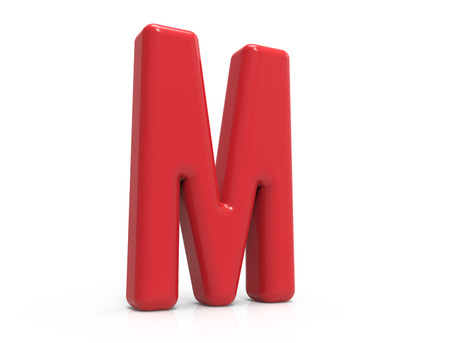 red letter M, 3D rendering red plastic texture alphabet isolated on white background
