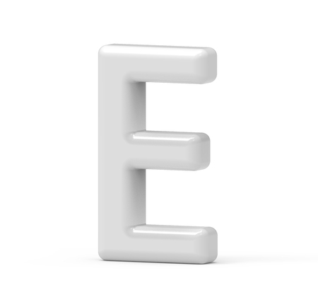 pearl white letter E, 3D rendering inflated alphabet isolated on white background