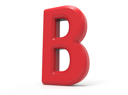 red letter B, 3D rendering red plastic texture alphabet isolated on white background