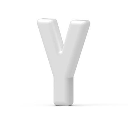 pearl white letter Y, 3D rendering inflated alphabet isolated on white background