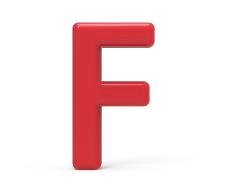 red letter F, 3D rendering red plastic texture alphabet isolated on white background