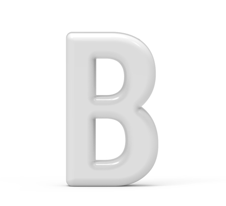 pearl white letter B, 3D rendering inflated alphabet isolated on white background 版權商用圖片