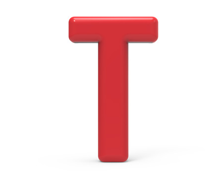 red letter T, 3D rendering red plastic texture alphabet isolated on white background