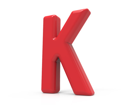 red letter K, 3D rendering red plastic texture alphabet isolated on white background