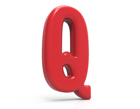 red letter Q, 3D rendering red plastic texture alphabet isolated on white background