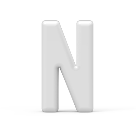 pearl white letter N, 3D rendering inflated alphabet isolated on white background 版權商用圖片