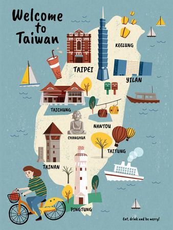 Mappa di viaggio di Taiwan, attrazioni in stile disegnato a mano e specialità con la ragazza in sella a una bicicletta