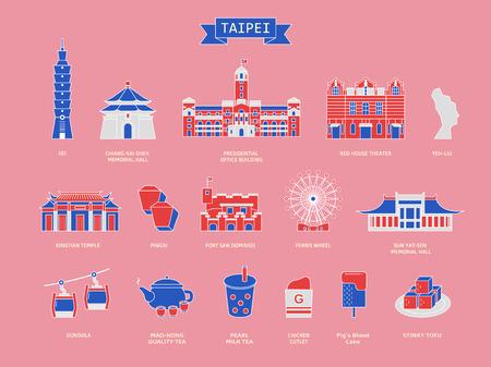 Collezione simbolo di viaggio di Taiwan, famose architetture e specialità a Taipei in stile design piatto isolato su sfondo rosa, design tricolore