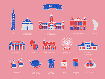Taiwan travel symbol collection, famous architectures and specialties in Taipei in flat design style isolated on pink background, tricolor design