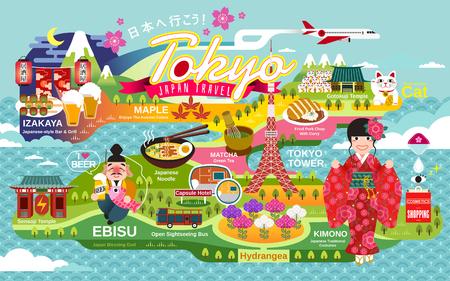 日本旅行ポスター、東京観光や伝統文化の記号は日本と日本語トップと赤ランタンのガストロパブに行こう
