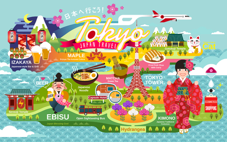A Japan Travel poster, tokyo attractions and traditional culture symbols, Lets go to Japan and gastropub in Japanese word on the top and red lantern Ilustração