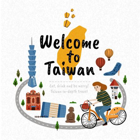 Witamy na Tajwanie, ilustracja koncepcji podróży ze słynnymi zabytkami i dziewczyną jadącą na rowerze przemierzającym Tajwan