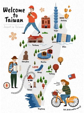 Carte de voyage de Taiwan, attractions de style dessinées à la main et spécialités avec trois voyageurs