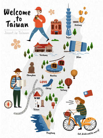 Taiwan Travel map, hand drawn style attractions and specialties with three travelers Stock fotó - 86920310