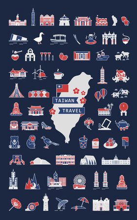 Taiwan travel symbol collection, famous architectures and specialties in flat design isolated on dark blue background, tricolor design Vettoriali