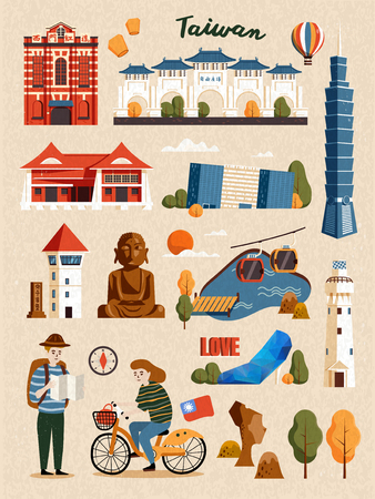 Taiwan Attraction Set, famous architecture and landmark isolated on beige background Illustration