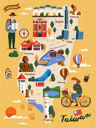 Mappa di viaggio di Taiwan, attrazioni in stile disegnato a mano e specialità con due viaggiatori