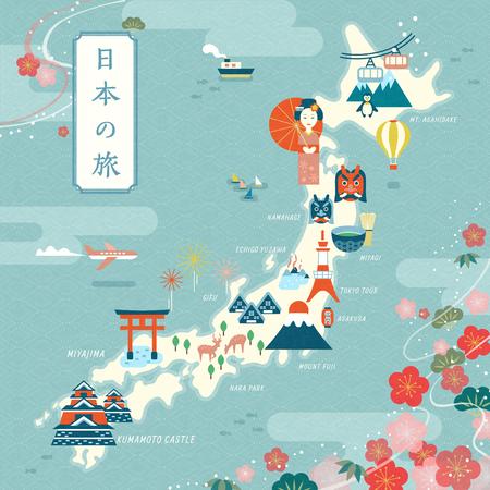 Elegancka mapa podróży do Japonii, płaski punkt orientacyjny i tradycyjny symbol z ramką wiśni, japońska podróż po japońsku w lewym górnym rogu