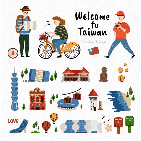 De Aantrekkelijkheidsreeks van Taiwan, beroemde architectuur en oriëntatiepunt dat op witte achtergrond met drie reizigers wordt geïsoleerd Stock Illustratie