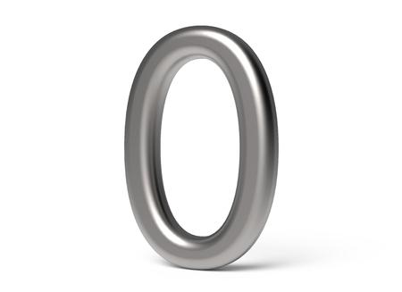 3D 렌더링 금속 번호 0, 얇고 광택 3D 그림 디자인 스톡 콘텐츠