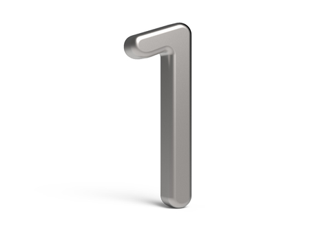 3D render metallic number 1, thin and glossy 3D figure design