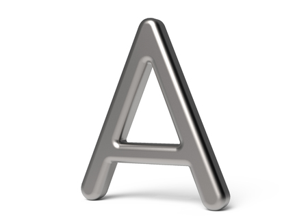 3D 렌더링 금속 알파벳 A, 얇고 광택 3D 글꼴 디자인