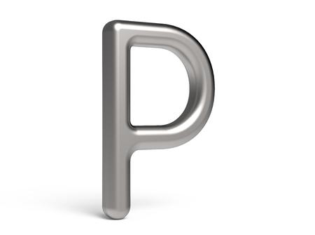 3D übertragen metallisches Alphabet P, dünnes und glattes Design der Guss 3D Standard-Bild - 88491558