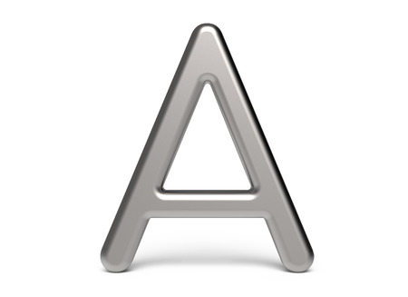 3D render metallic alphabet A, thin and glossy 3D font design 版權商用圖片