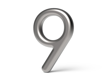 3D render metallic number 9, thin and glossy 3D figure design Stock Photo