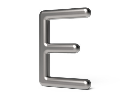 3D render metallic alphabet E, thin and glossy 3D font design