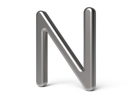 3D render metallic alphabet N, thin and glossy 3D font design