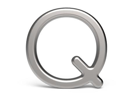 3D render metallic alphabet Q, thin and glossy 3D font design Stock Photo