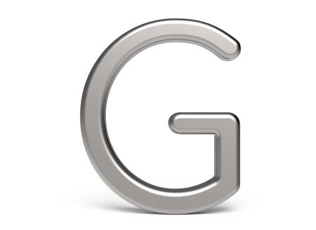 3D render metallic alphabet G, thin and glossy 3D font design