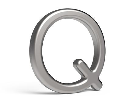 3D render metallic alphabet Q, thin and glossy 3D font design Reklamní fotografie