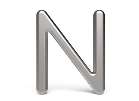 3D 렌더링 금속 알파벳 N, 얇고 광택 3D 글꼴 디자인
