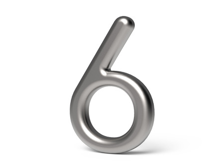 3D render metallic number 6, thin and glossy 3D figure design