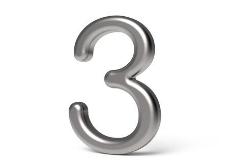 3D 렌더링 금속 번호 3, 얇고 광택 3D 그림 디자인 스톡 콘텐츠 - 88491686