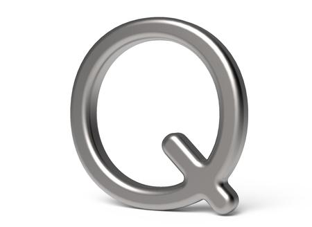3D 렌더링 금속 알파벳 Q, 얇고 광택있는 3D 글꼴 디자인